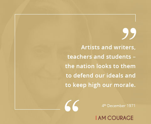 Artists and writers, teachers and students ??? the nation looks to them to defend our ideals and to keep high our morale.