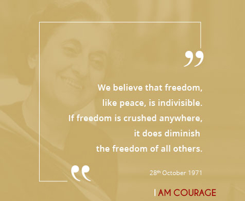 We believe that freedom, like peace, is indivisible.  If freedom is crushed anywhere, it does diminish the freedom of all others.