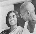 Indira with Mahatma Gandhi 1935