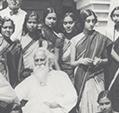 With Guru Rabindranath Tagore Santiniketan 1934-35