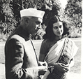 Jawaharlal Nehru and Indira Gandhi Teen Murti House New Delhi (Photo Henri Cartier Bresson)