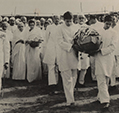 Rajiv and Sanjay bearing the urn containing the ashes of Pandjit Jawaharlal Nehru, Allahabad